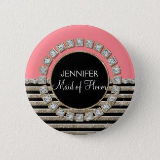 Art Deco Modern Horizontal Stripe Glitter Look 6 Cm Round Badge