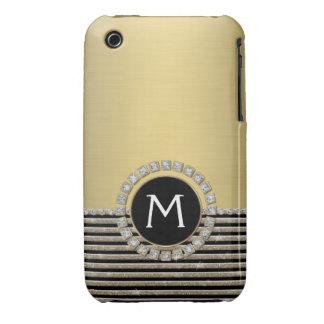 Art Deco Modern Horizontal Stripe Glitter Look iPhone 3 Cases