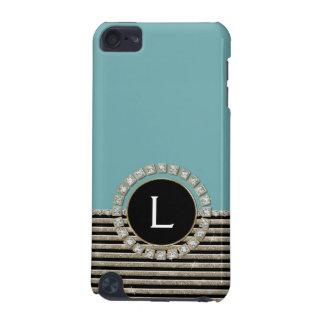 Art Deco Modern Horizontal Stripe Glitter Look iPod Touch (5th Generation) Cases