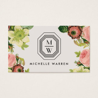 Art Deco Monogram with Vintage Florals on Tan