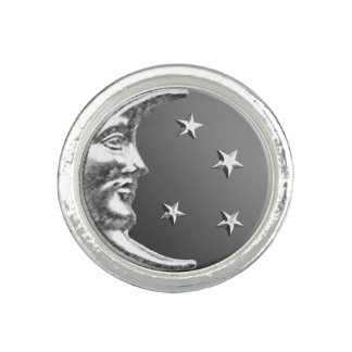 Art Deco Moon and Stars - Grey / Gray and Silver Ring