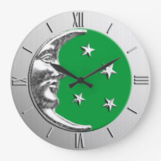 Art Deco Moon and Stars - Jade Green and Silver Large Clock