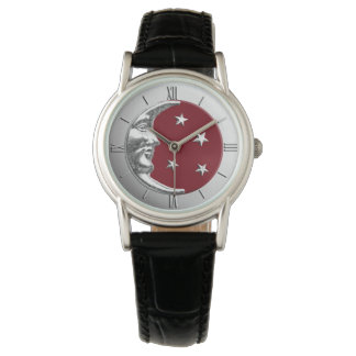 Art Deco Moon Moon and Stars - Dark Red and Silver Watch