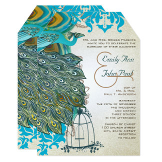 Art Deco  Musical Peacock Bird Cage Feathers Card