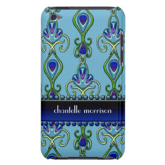 Art Deco Nouveau Peacock Feather Colors Swirl Art Barely There iPod Cases