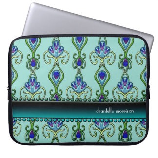 Art Deco Nouveau Peacock Feather Colors Swirl Art Laptop Sleeve