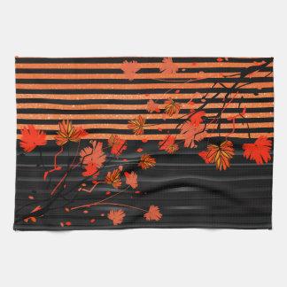 Art Deco Orange and Black Floral Towels