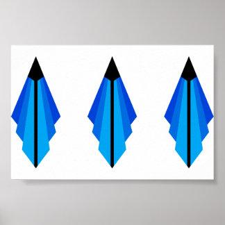 Art Deco Pattern in Blues Poster