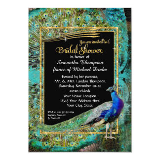 Art Deco Peacock Glam Old Hollywood Bridal Shower 13 Cm X 18 Cm Invitation Card