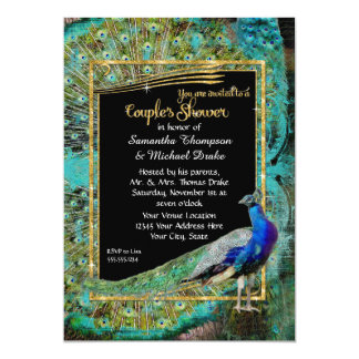 Art Deco Peacock Glam Old Hollywood Couples Shower 13 Cm X 18 Cm Invitation Card