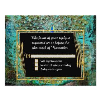Art Deco Peacock Glam Old Hollywood Regency 11 Cm X 14 Cm Invitation Card