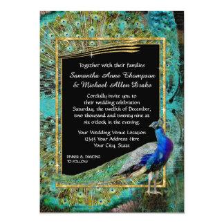 Art Deco Peacock Glam Old Hollywood Regency 13 Cm X 18 Cm Invitation Card