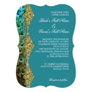 Art Deco Peacock Gold Glitter Old Hollywood Gatsby 13 Cm X 18 Cm Invitation Card
