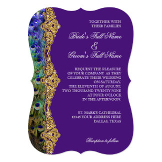 Art Deco Peacock Gold Glitter Old Hollywood Gatsby 13 Cm X 18 Cm Invitation Card