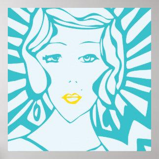Art Deco Pop Art Tiffany Blue Poster
