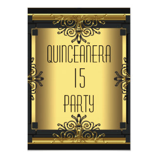 ART DECO Quinceanera 15th Birthday Party 4.5x6.25 Paper Invitation Card