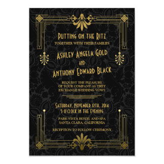 Art Deco Roaring 20s Black Gold Wedding Invitation