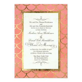 Art Deco Shell Pattern Gold Watercolor Wedding 13 Cm X 18 Cm Invitation Card