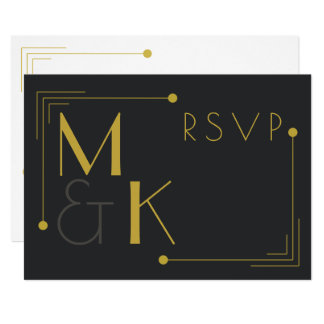 Art Deco Style 1920 Black Gold RSVP Card
