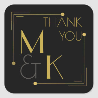 Art Deco Style 1920 Black Gold Thank You Sticker