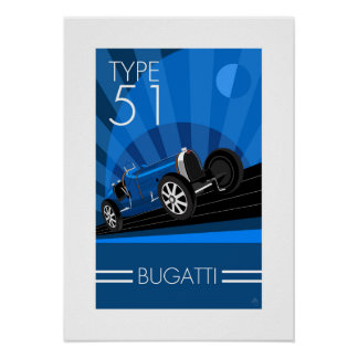 Art Deco Style Buggatti Car Poster