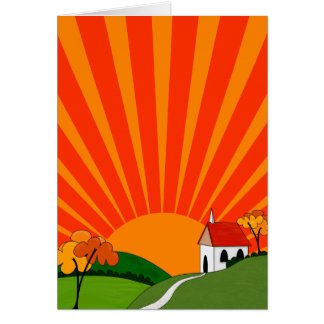 Art Deco Style Landscape with Church Greeting Card