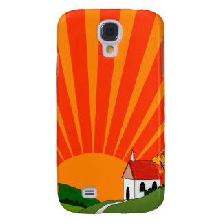 Art Deco Style Landscape with Church Samsung Galaxy S4 Cases