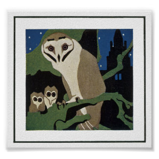 Art Deco Style Owl and Owlets Poster