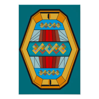 Art Deco Style Poster with Gem Shape