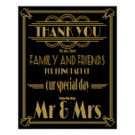 Art Deco thank You table wedding signs Poster