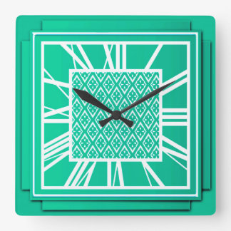 Art Deco, turquoise / peacock Square Wall Clock