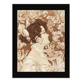"Art Deco Victorian Lady 4.25"" X 5.5"" Invitation Card"