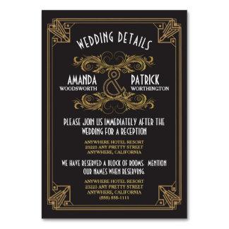 Art Deco Vintage Black Gold Wedding Inserts Cards