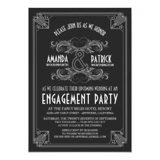Art Deco Vintage Engagement Party Invitations