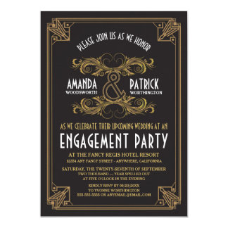 Art Deco Vintage Gold Engagement Party Invitations