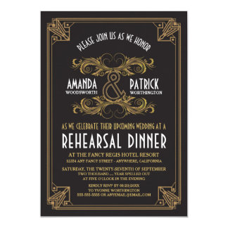 Art Deco Vintage Gold Rehearsal Dinner Invitations