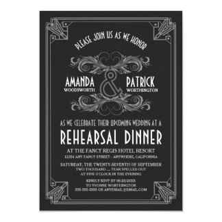 Art Deco Vintage Rehearsal Dinner Invitations