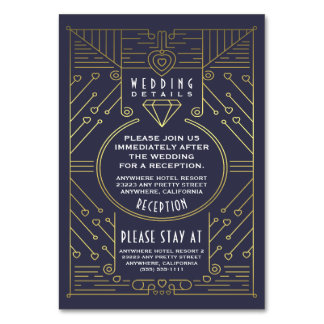 Art Deco Vintage Wedding Reception Insert Cards Table Card