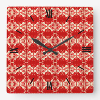 Art Deco wallpaper pattern - red and white Square Wall Clock