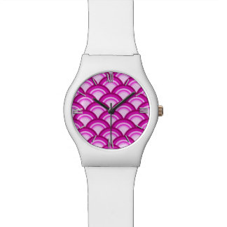 Art Deco wave pattern - shades of orchid Watch