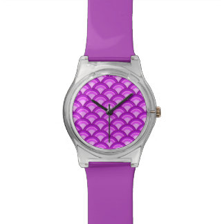 Art Deco wave pattern - violet and orchid Watch
