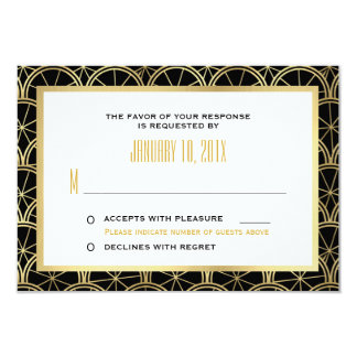 Art Deco Wedding RSVP Black and Gold Card
