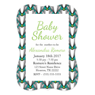 Art Deco White Flowers & Green Baby Shower Card