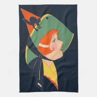 Art Deco Witch Hat Black Cat Tea Towel