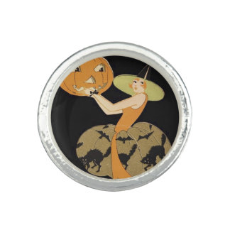Art Deco Witch Jack O Lantern Pumpkin Black Cat