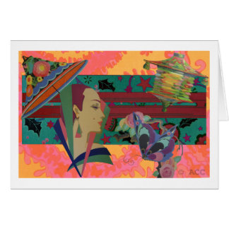 Art Deco Woman Color Splash Card