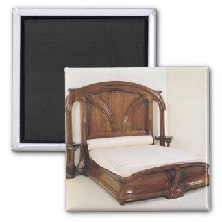 Art Nouveau bed, 1900 Square Magnet