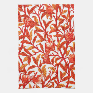 Art Nouveau Bird and Pomegranate, Mandarin Orange Tea Towels
