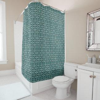 Art Nouveau Blue Green Geometric Shower Curtain