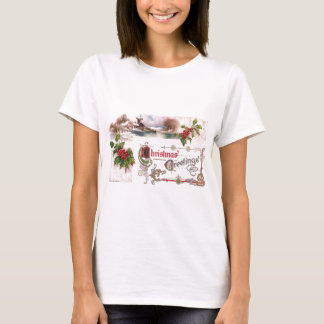 Art Nouveau Christmas Greetings with Holly T-Shirt